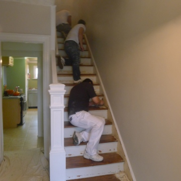 Our friend Edgar working hard to finish up our LAST project for our 2nd floor renovations.