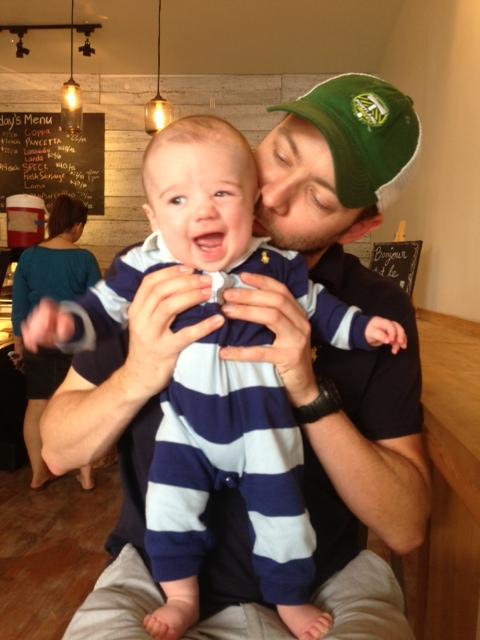 Ryan's beard tickling Finn's face.
