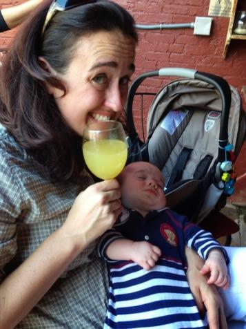 Finn still sleeping during brunch so mom had a few mimosas.