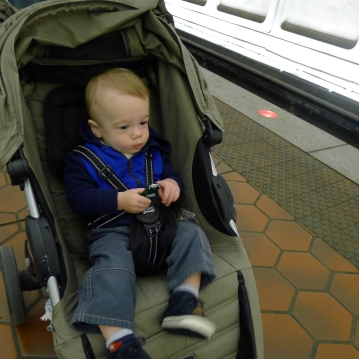 Taking in the noises of the trains.