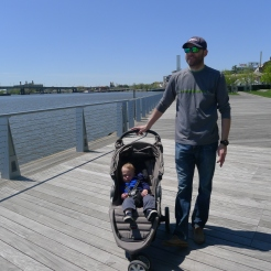 The new walkway on the water - Finn was sick of being in his stroller.