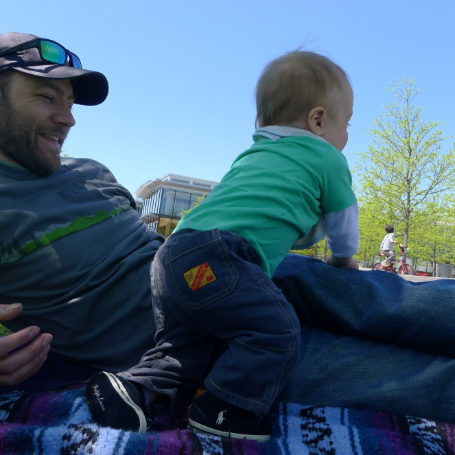 Climbing on Dad...